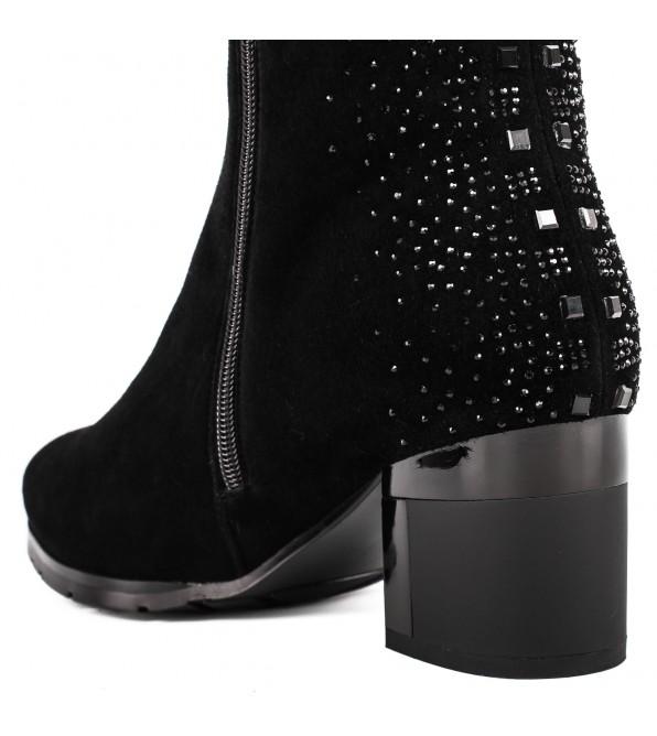 Чоботи жіночі замшеві з стразами на каблуку Velly