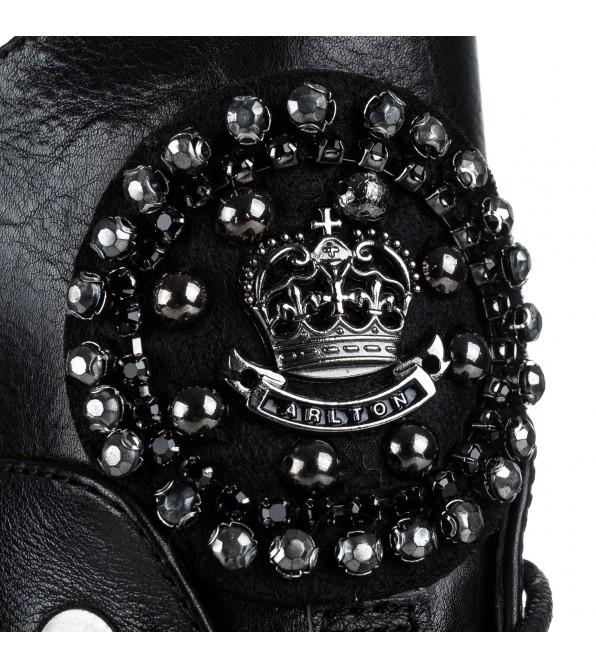 Черевики жіночі шкіряні на каблуку зі стразами Anemone