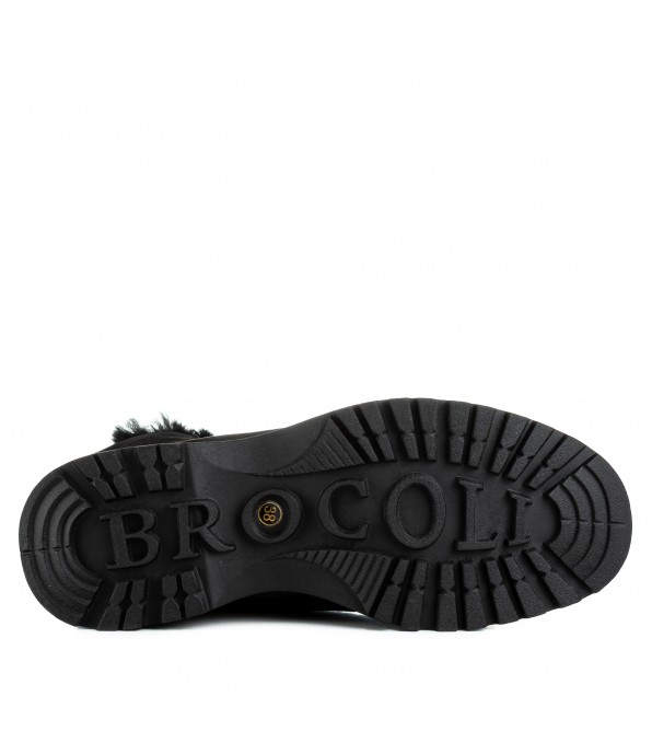 Черевики жіночі замшеві на платформі з шнурівками Brocoli