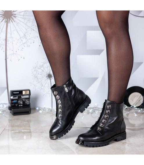 Черевики жіночі шкіряні на каблуку Brocoli