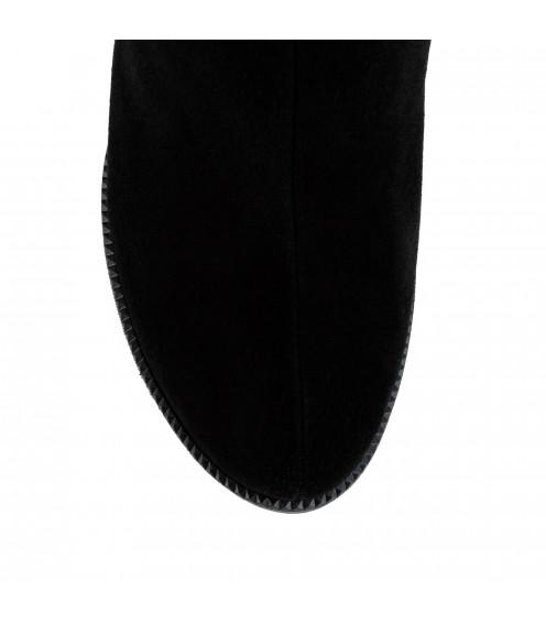 Ботфорти жіночі замшеві на квадратному каблуку Brocoli