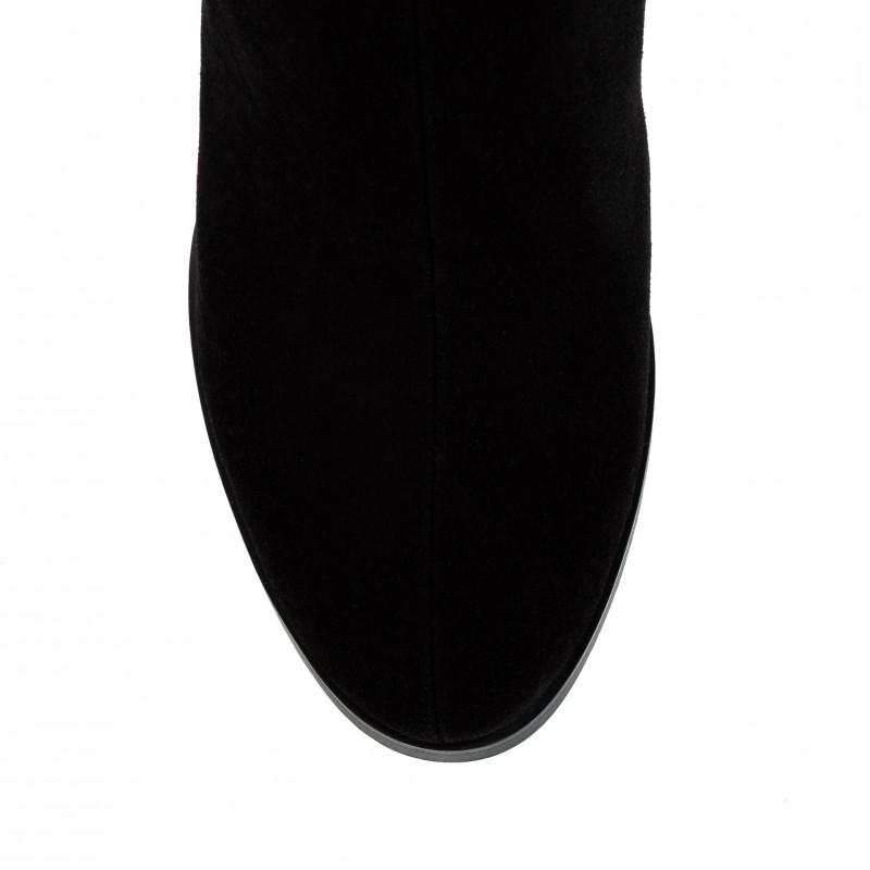 Ботфорти жіночі замшеві чорні на каблуку Brocoli