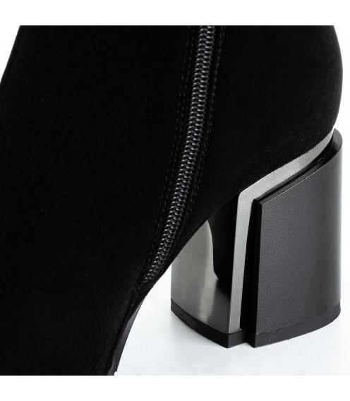 Ботфорти жіночі замшеві на стійкому каблуку високі Brocoli