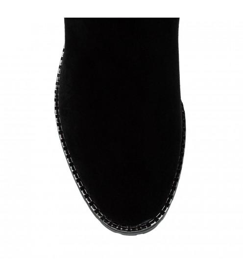 Ботфорти жіночі замшеві чорні на каблуці Brocoli