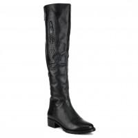 Ботфорты женские кожаные изысканные Beratroni с выбитым крокодилом на каблуке черные