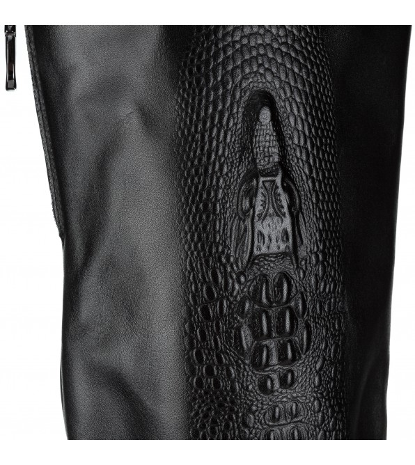 Ботфорти жіночі шкіряні вишукані Beratroni з вибитим крокодилом на каблуці чорні