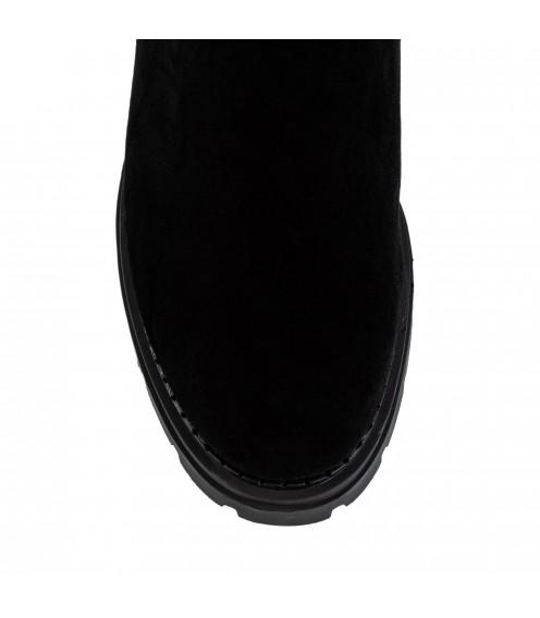 Ботфорти жіночі замшеві чорні на каблуці  Nadi Bella