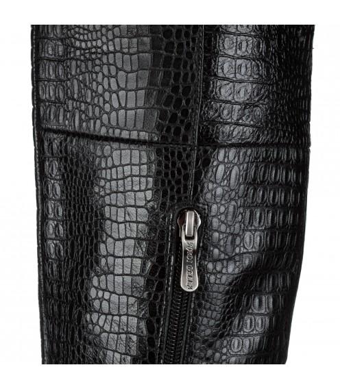 Ботфорти жіночі шкіряні на каблуці Nadi Bella з імітацією шкіри крокодила вишукані