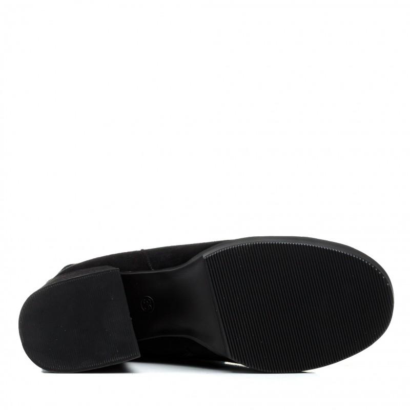 Чоботи My classic замшеві чорні на товстому каблуці класичні з потертостями