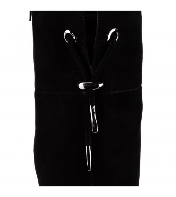 Ботфорти жіночі замшеві з каблуком декорованим стразами Sufinna