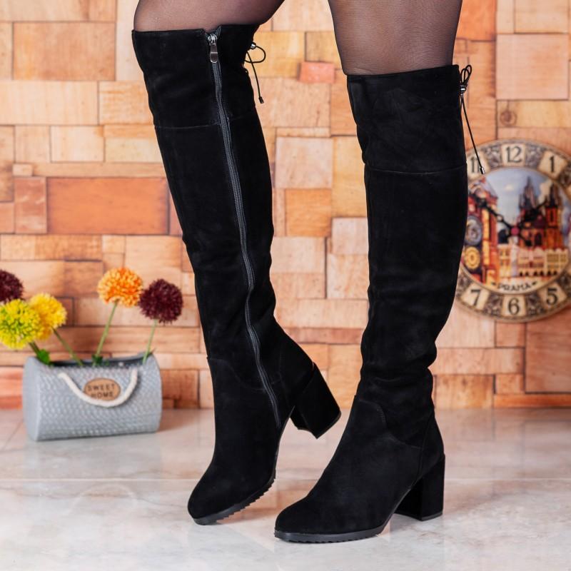 Ботфорти жіночі замшеві зі шнурівками Barborrylia на середньому каблуці чорні