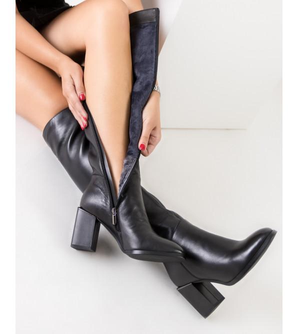 Ботфорти жіночі шкіряні на товстому каблуку Vidorcci