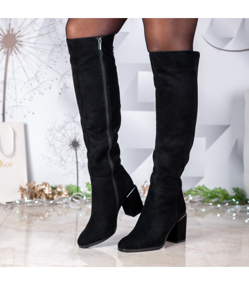 Ботфорти жіночі замшеві з квадратним каблуком Vidorcci