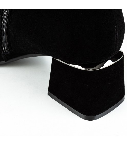 Ботфорти жіночі замшеві чорні на каблуці Vidorcci