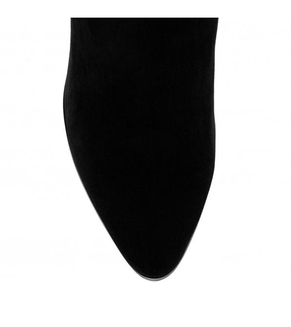 Ботфорти жіночі Lady Marcia на зручному каблуці чорні замшеві