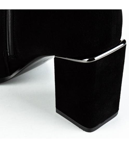 Чоботи жіночі замшеві зручні з квадратним каблуком Lady Marcia