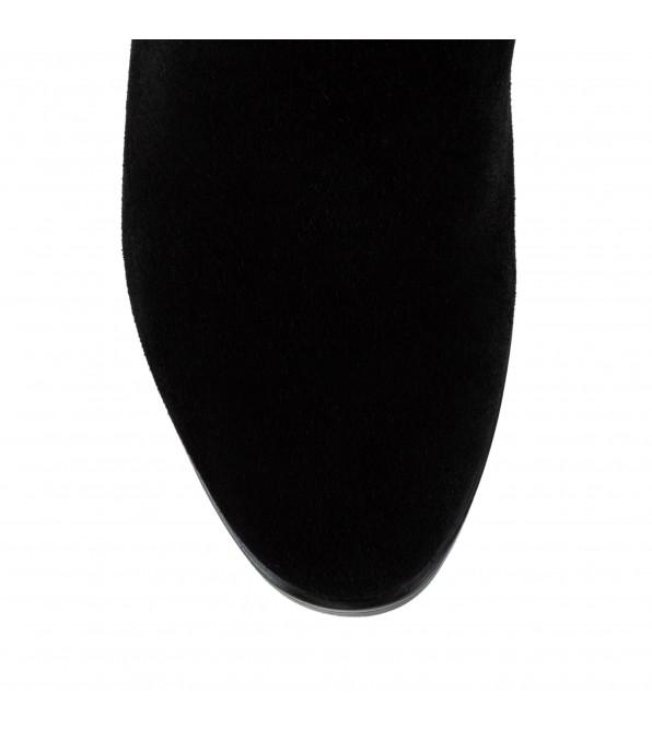Чоботи жіночі замшеві чорні на високому каблуці Lady Marcia