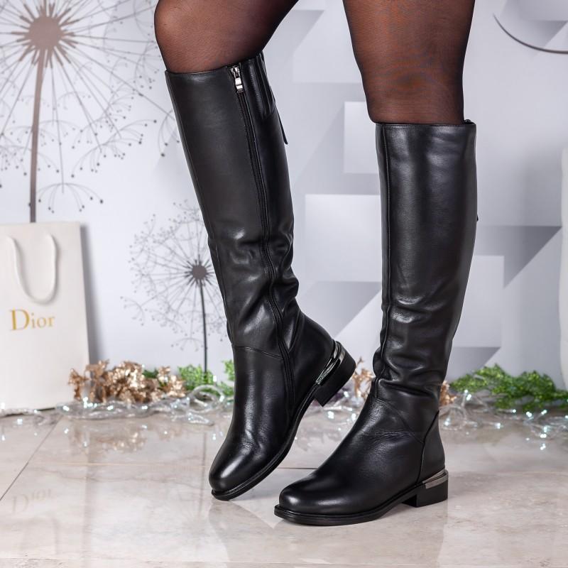 Чоботи жіночі шкіряні класичні чорні Lady Marcia