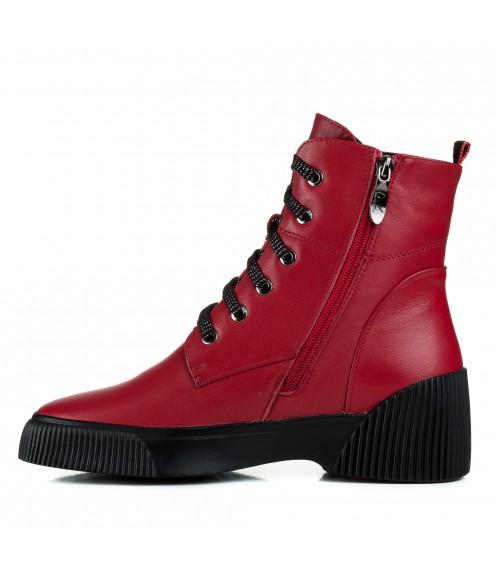 Черевики шкіряні на зручній платформі червоні на шнурках