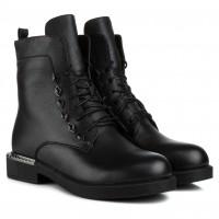 Ботинки женские кожаные черные на шнуровке My Classic