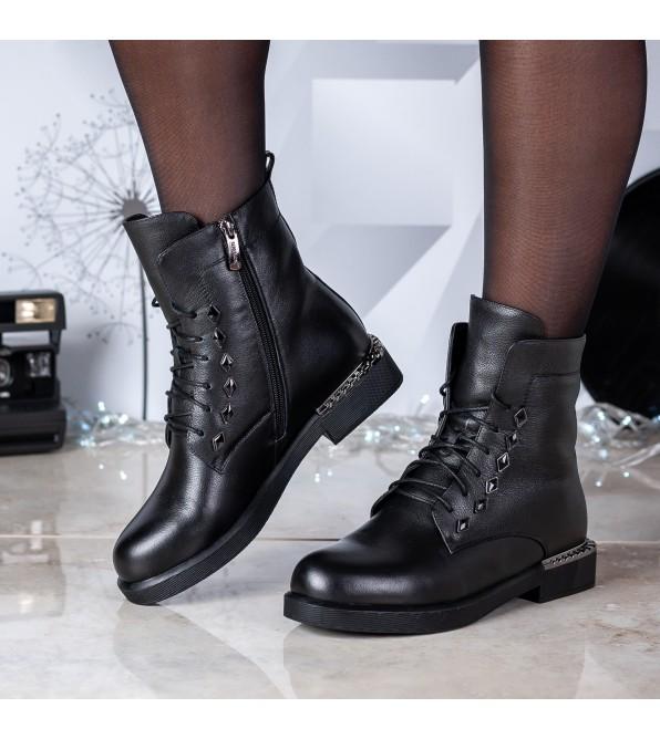 Черевики жіночі шкіряні чорні на шнурівці My classic