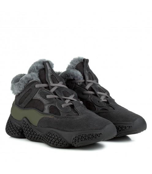 Кросівки жіночі сірі теплі Berkonty зі шнурками на зручній підошві