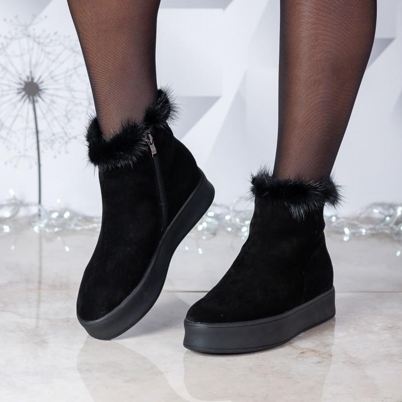 Черевики жіночі замшеві на платформі Berkonty чорні з хутром