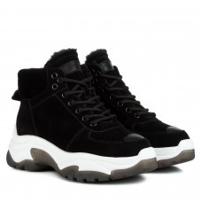 Ботинки женские Berkonty на белой подошве на шнурках замшевые черные