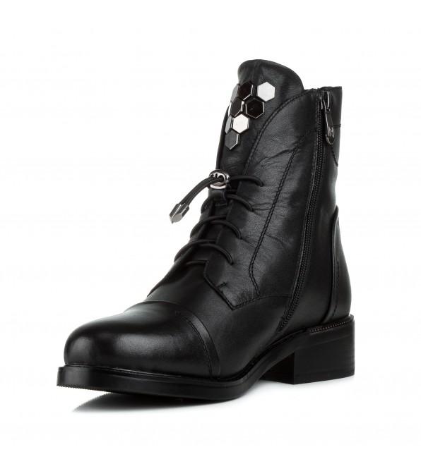 Черевики жіночі зимові чорні на шнурівці Farinni