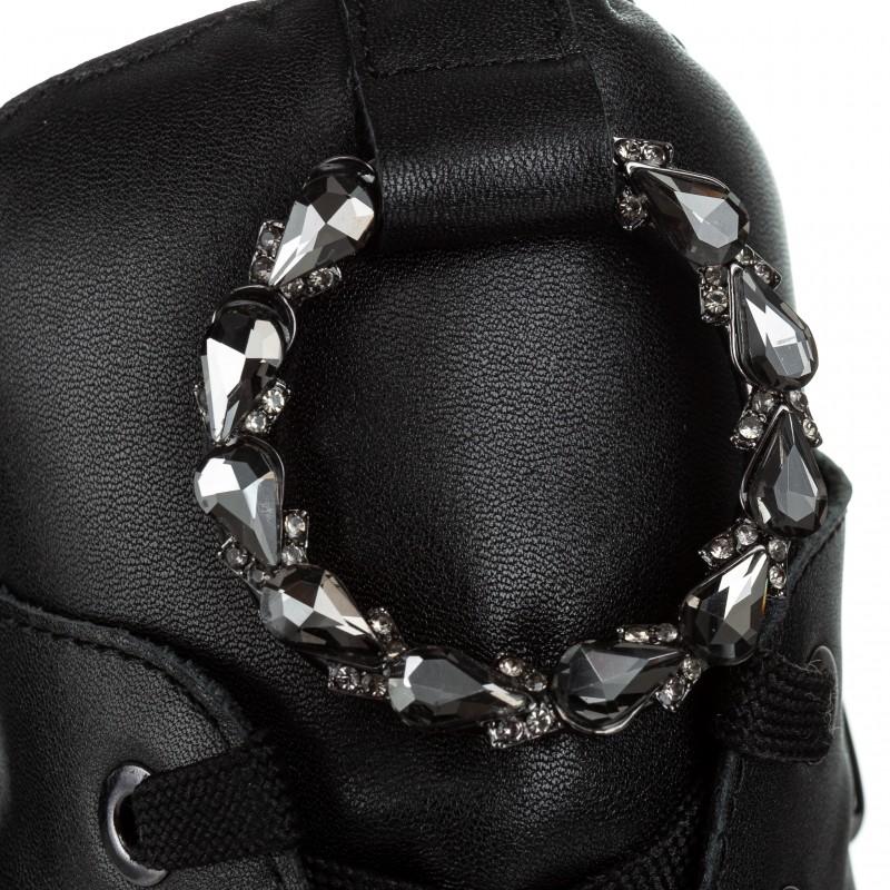 Черевики жіночі шкіряні з брошкою Farinni на зручному каблуці