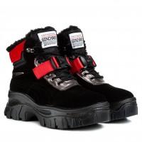 Ботинки женские зимние спортивные черные с красными ацентами Farinni