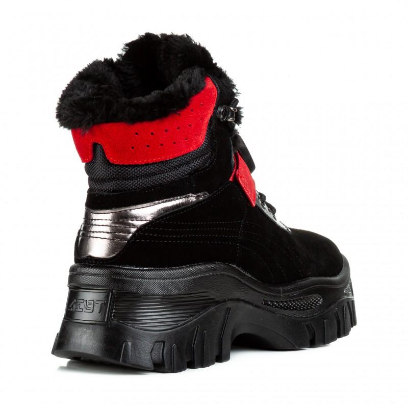 Черевики жіночі зимові спортивні чорні з червоними акцентами Farinni