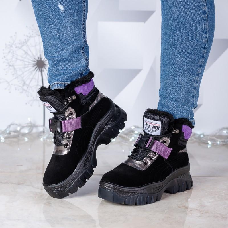 Черевики жіночі спортивні на хутрі Gelsomino з фіолетовими вставками