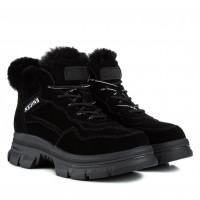 Кроссовки женские зимние на грубой подошве черные на шнурках замшевые