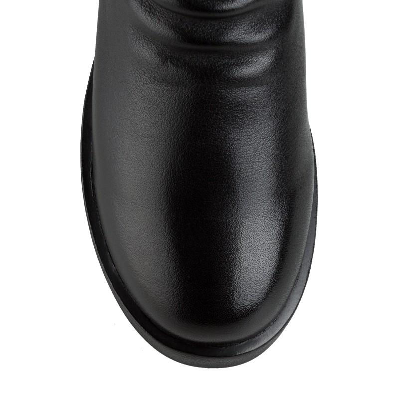 Черевики жіночі шкіряні повсякденні Meegocomfort на зручній підошві чорні шкіряні