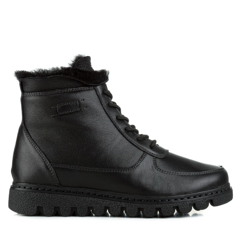 Черевики Meegocomfort на тракторній  підошві чорні шкіряні на шнурівках