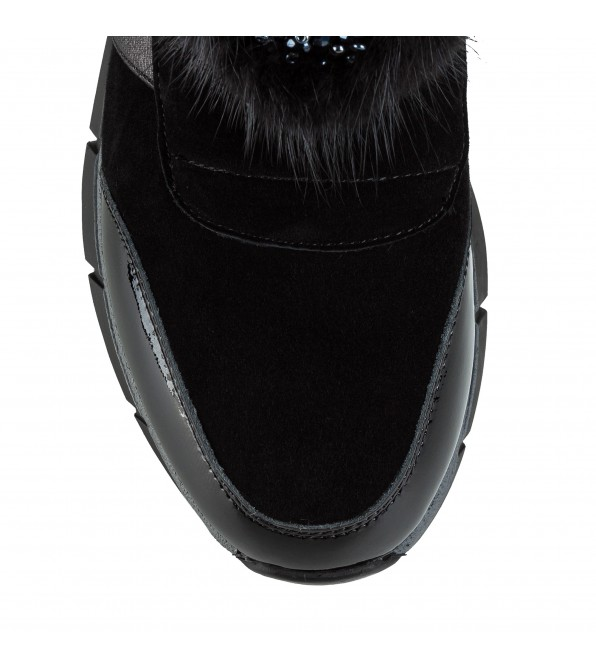 Черевики жіночі на зручній підошві Meegocomfort з хутром чорні замшеві