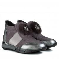 Ботинки женские на удобной подошве Meegocomfort с мехом серые замшевые