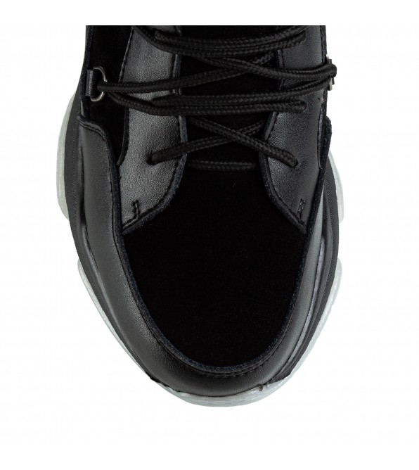 Черевики жіночі спортивні  Nina Mosconni зручні на шнурках чорні шкіряні