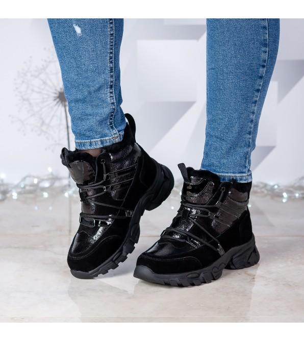 Черевики жіночі чорні на шнурівках шкіряні з лаковими вставками