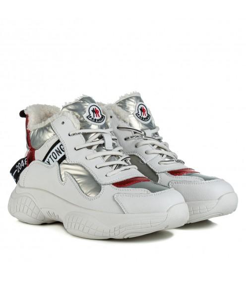 Черевики жіночі спортивні білі з вставками на шнурівках на високій підошві