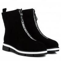 Ботинки женские замшевые зимние на платформе черные Stefaniya