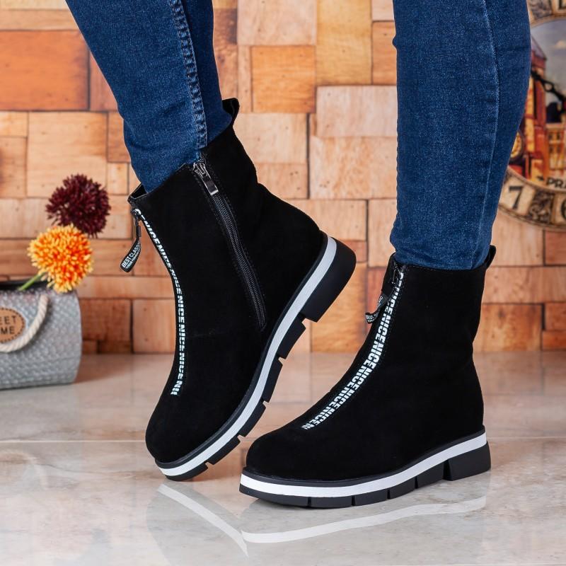 Черевики жіночі замшеві зимові на платформі чорні Stefaniya