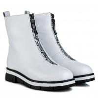 Ботинки женские кожаные зимние белые  Nina Mosconni