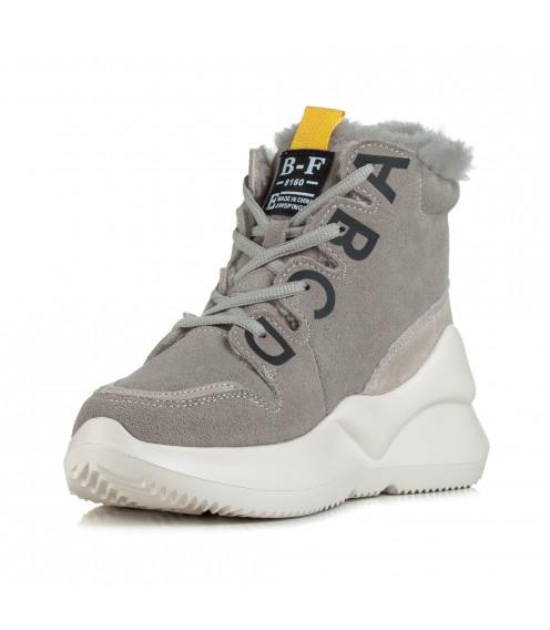 Кросівки жіночі спортивні сірі на високій платформі Lifexpert