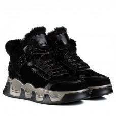 Ботинки женские удобные модные на платформе Lifexpert черные кожаные