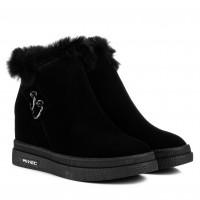 Ботинки женские зимние с мехом Lifexpert черные замшевые на платформе