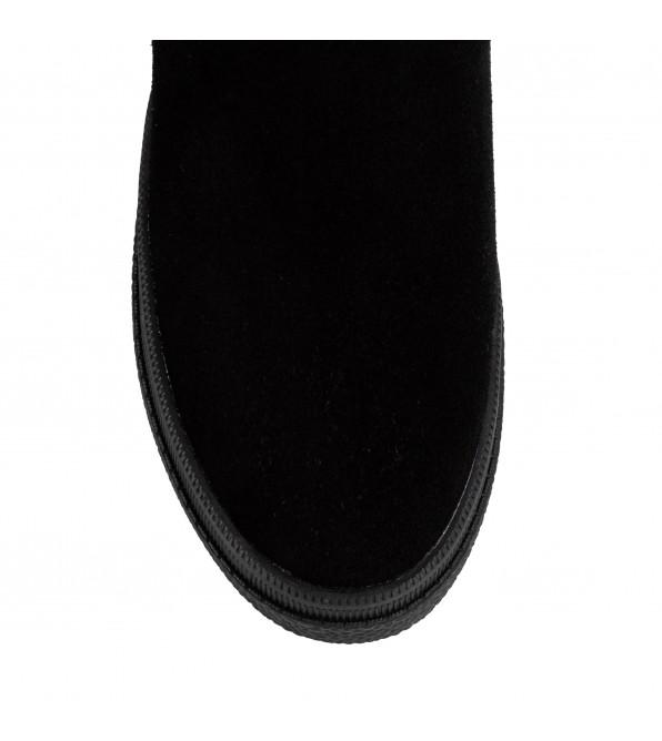 Черевики жіночі зимові з хутром Lifexpert чорні замшеві на платформі