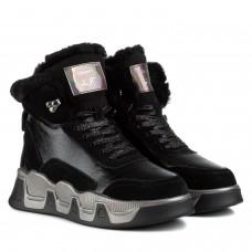 Ботинки женские Lifeexpert черные кожаные на массивной платформе