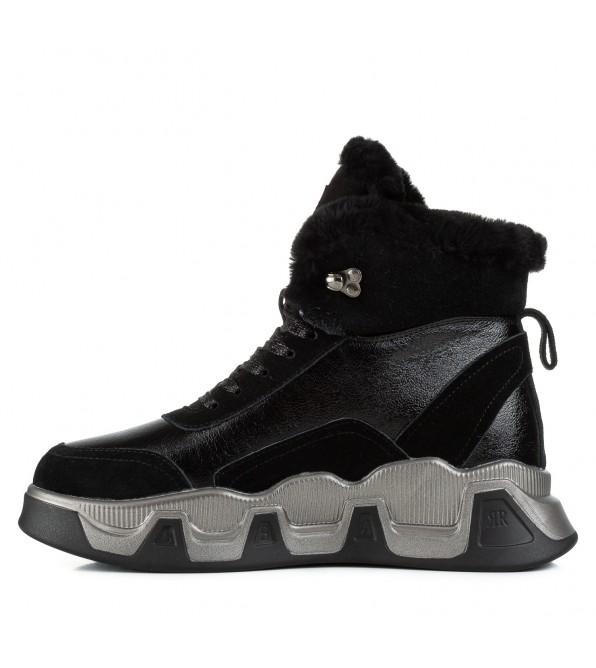 Кросівки жіночі Lifeexpert чорні шкіряні на масивній платформі